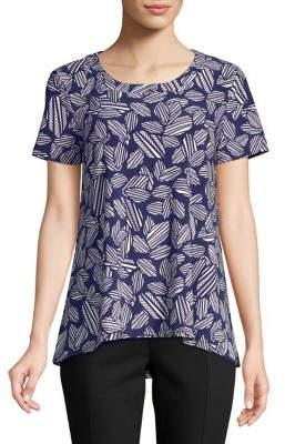 Anne Klein Printed Hi-Lo Shirt