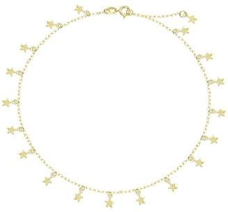 """American Designs 14kt Yellow Gold Diamond-Cut Star Dangle Charm Anklet 9""""-10"""" Chain Adjustable"""