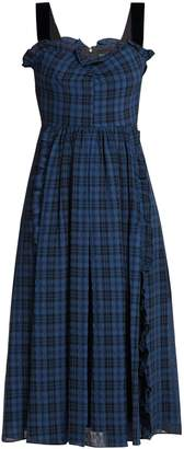 ALEXACHUNG Ruffle-trimmed checked midi dress