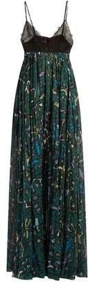 Valentino - Panama Print Cotton And Lace Gown - Womens - Green Multi