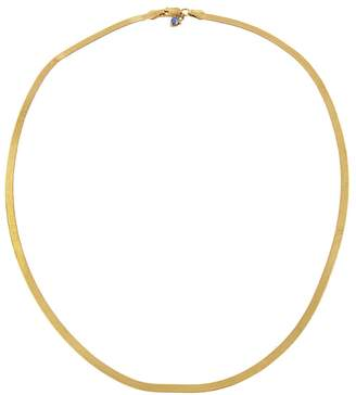WWAKE 16 Inch Small Rhodes Herringbone Necklace - Yellow Gold
