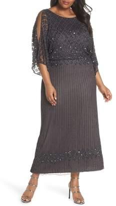 Pisarro Nights Diamond Motif Mesh Blouson Gown