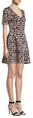 Herve Leger V-neck Animal Print Fit-and-Flare Dress