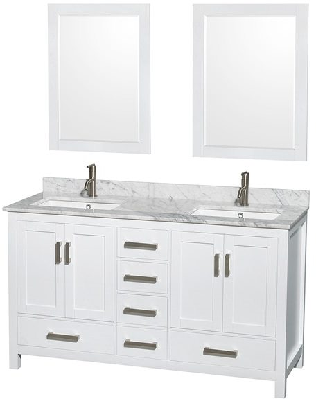 Wyndham Collection Sheffield 60-inch White Double Vanity