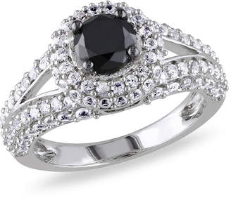 Black Diamond MODERN BRIDE Womens 1 CT. T.W. Color Enhanced Round & Lab Created White Sapphire Sterling Silver Engagement Ring