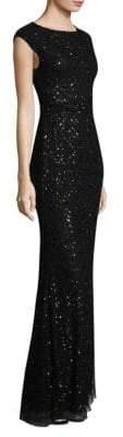 Parker Jessy Sequin Embellished Floor-Length Dress