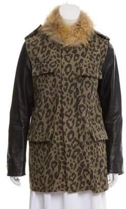 AR+ AR SRPLS Fur-Trimmed Printed Jacket