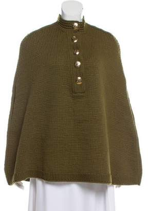 Marc Jacobs Knitted Button Up Poncho Olive Knitted Button Up Poncho