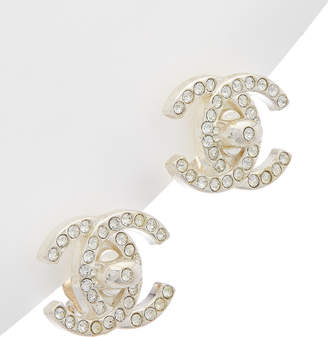 Chanel Silver-Tone & Crystal Large Cc Turnlock Clip-On Earrings
