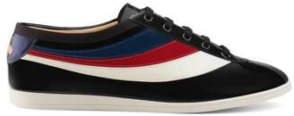 Gucci Falacer patent leather sneaker with Web