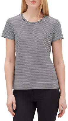 Lafayette 148 New York Plus Size Modern Striped Short-Sleeve Jersey Cotton Tee