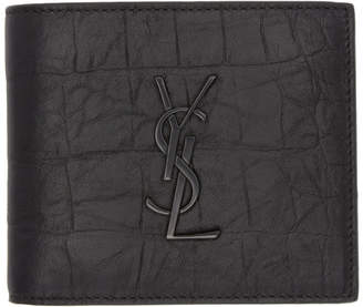 Saint Laurent Black Croc Monogramme East/West Wallet