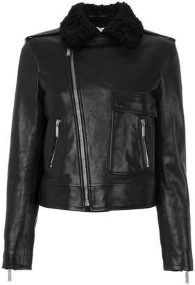 Saint Laurent shearling collar motorcycle jacket