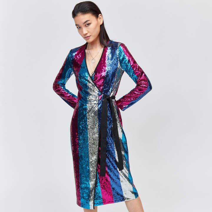 Multi Stripe Sequin Wrap Dress