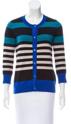 Neiman Marcus Striped Knit Cardigan