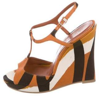 Burberry Patterned T-Strap Wedges