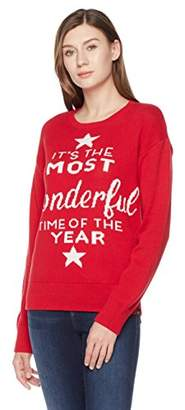 Ugly Fairisle Unisex Adult Jacquard It's The Most Wonderful Time of The Year Crewneck Christmas Sweater S Red/White