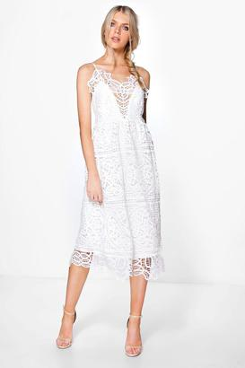 boohoo Boutique Bea Crochet Panelled Midi Skater Dress $52 thestylecure.com