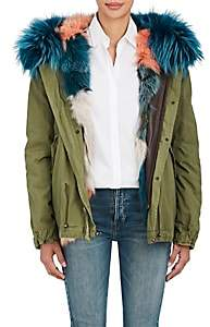 Mr & Mrs Italy Women's Fur-Trimmed & Fur-Lined Mini-Parka - Dk. Green
