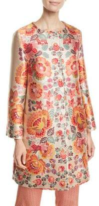 Etro 3/4-Sleeve Floral-Deco Jacquard Coat