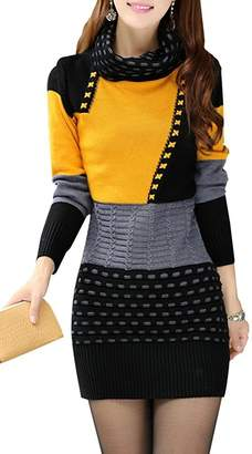 Fortuning's JDS Women's Slim Fit Long Sleeve Crew Neck Knitted Jumper Dress Sweater