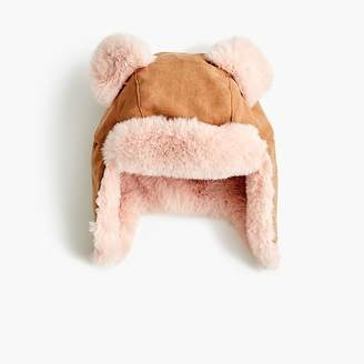 J.Crew Girls' suede fur-lined hat with ears