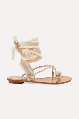 Rene Caovilla Elizabella Lace-up Embellished Leather And Grosgrain Sandals - Beige