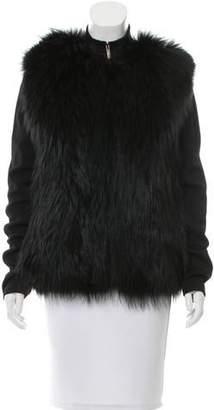 Elie Saab Fur-Paneled Long Sleeve Cardigan w/ Tags