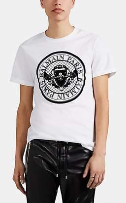 Balmain Men's Logo Coin Cotton T-Shirt - Black