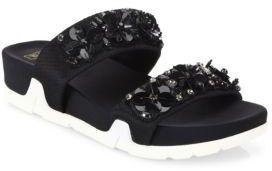 Ash Oman Flowers Embellished Slide Sandals $165 thestylecure.com