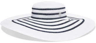 Maison Michel Bianca Striped Lurex Sunhat - White