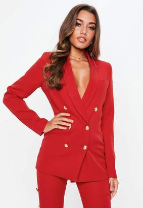 Missguided Red Military Suit Jacket
