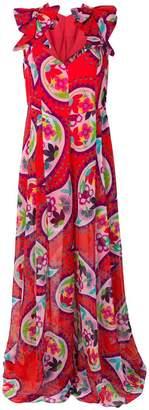 DELPOZO floral flared maxi dress