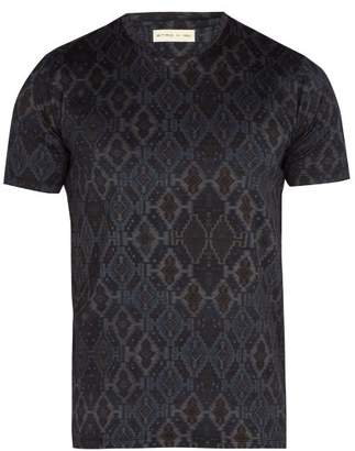 Etro Geometric Print Cotton T Shirt - Mens - Blue