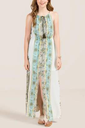 Maylie Mix Print Split Front Maxi Dress - Light Blue