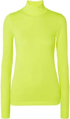 Les Rêveries - Neon Stretch-knit Turtleneck Top - Chartreuse