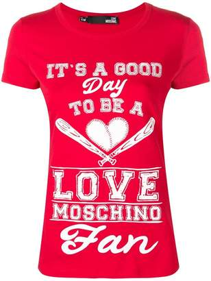 Love Moschino quote print T-shirt