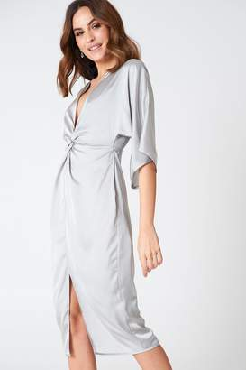 Hannalicious X Na Kd Satin Kimono Slit Dress
