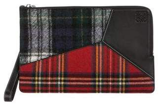Loewe Leather and Plaid Puzzle Flat Pouch w/ Tags