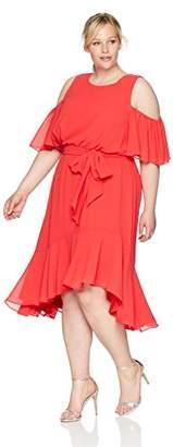 Eliza J Women's Cold Shoulder High Low Dress