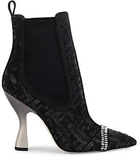 Fendi Women's Crystal-Embellished Logo Ankle Boots