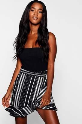 boohoo Woven Polka Dot Ruffle & Wrap Mini Skirt