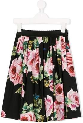 Dolce & Gabbana roses print midi skirt