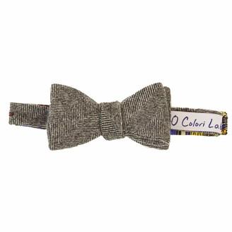 40 Colori Grey Herringbone Wool Butterfly Bow Tie