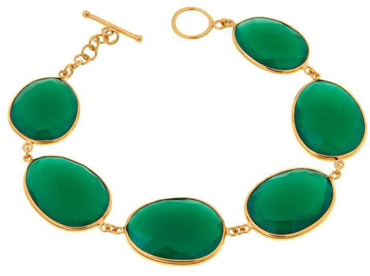 "ArgentovivoArgento Vivo Freeform Green Onyx Gold-Plated Sterling Silver 7-3/4"" Line Bracelet"