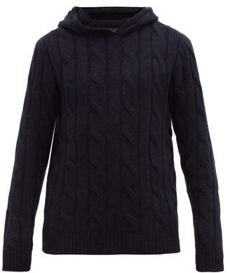 Ralph Lauren Purple Label Cable Knit Cashmere Hooded Sweater - Mens - Navy