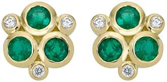 Temple St. Clair 18K Yellow Gold Classic Triple Stone Emerald and Diamond Earrings