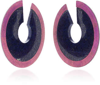 Arunashi One-Of-A-Kind Lapis Disc Hoop Earrings