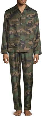 Valentino 2-Piece Silk Camouflage Pajama Set