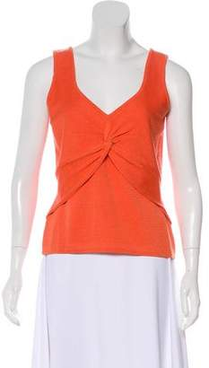 St. John Sport Sleeveless Knot-Accented Top